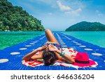 Happy Woman In Bikini Sunbath...