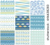 wavy sea ornaments set.... | Shutterstock .eps vector #646638283