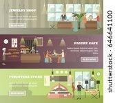 vector set of shops horizontal...   Shutterstock .eps vector #646641100