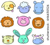 colorful animal head of doodles ...   Shutterstock .eps vector #646650526