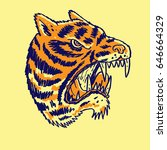 angry tiger head hand drawing... | Shutterstock .eps vector #646664329