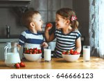 happy children girl and boy... | Shutterstock . vector #646666123