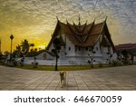 cat walking on temple background | Shutterstock . vector #646670059