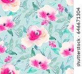 repeating watercolor flower...   Shutterstock . vector #646671304