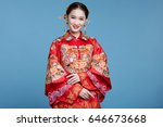 chinese bride  wearing a... | Shutterstock . vector #646673668