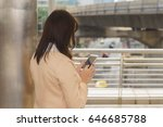 asian businesswoman is making a ...   Shutterstock . vector #646685788