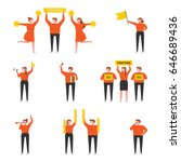 orange cheering people simple... | Shutterstock .eps vector #646689436