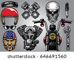 set of high detailed motorcycle ... | Shutterstock .eps vector #646691560