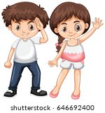 boy and girl with happy face... | Shutterstock .eps vector #646692400