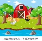 two ducks in the farm...   Shutterstock .eps vector #646692529