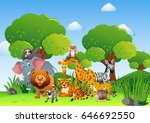 wild animals in the field... | Shutterstock .eps vector #646692550