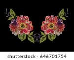 embroidery with a large red... | Shutterstock .eps vector #646701754