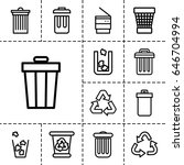waste icon. set of 13 outline... | Shutterstock .eps vector #646704994