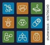 toddler icons set. set of 9... | Shutterstock .eps vector #646706140
