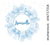 outline louisville skyline with ... | Shutterstock . vector #646717318