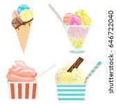 set of ice cream on white.... | Shutterstock .eps vector #646722040