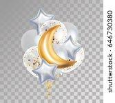 gold crescent moon balloon... | Shutterstock .eps vector #646730380