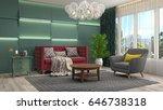 interior living room. 3d... | Shutterstock . vector #646738318