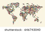 world map with morocco ornament.... | Shutterstock .eps vector #646743040