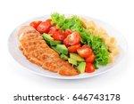 fitness  sport salad on white... | Shutterstock . vector #646743178