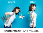 good posture and bad posture ... | Shutterstock . vector #646743886