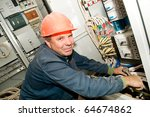 one electrician working on a... | Shutterstock . vector #64674862