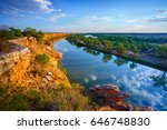 Golden glow on cliffs on the Murray River
