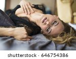 view of sensual girl in black... | Shutterstock . vector #646754386