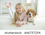 child with dog  | Shutterstock . vector #646757254