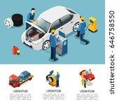 isometric car service... | Shutterstock .eps vector #646758550