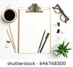 top view workspace mockup on... | Shutterstock . vector #646768300