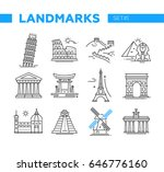 world famous landmarks   vector ... | Shutterstock .eps vector #646776160
