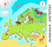 europe isometric map with flora ... | Shutterstock . vector #646783564