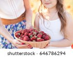 small girl holding basket with... | Shutterstock . vector #646786294