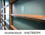perspective green glass wall.  | Shutterstock . vector #646788394
