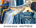 rail of second hand clothes on... | Shutterstock . vector #646793818