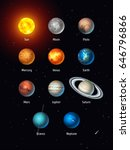 vector set of solar system... | Shutterstock .eps vector #646796866