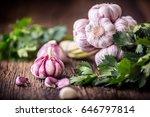 Fresh Garlic Bulbs With Parsle...