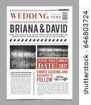 wedding invitation on newspaper ... | Shutterstock .eps vector #646803724