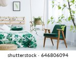 white bedroom with kale green... | Shutterstock . vector #646806094