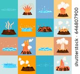 Set Of Stages Of Volcano...