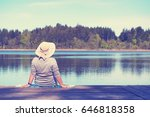 enjoy summer time  mature woman ... | Shutterstock . vector #646818358