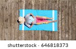 aerial view on sleeping senior... | Shutterstock . vector #646818373