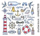 sailor hand drawn elements.... | Shutterstock .eps vector #646827838