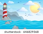 seascape with lighthouse theme... | Shutterstock .eps vector #646829368