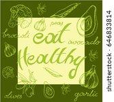 inscription healthy food  half... | Shutterstock .eps vector #646833814