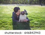 portrait of young woman and pug ... | Shutterstock . vector #646842943