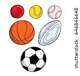 various cartoon sport balls | Shutterstock .eps vector #646846648