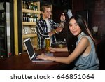portrait of woman having beer... | Shutterstock . vector #646851064