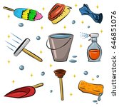 cleaning tools vector cartoon... | Shutterstock .eps vector #646851076